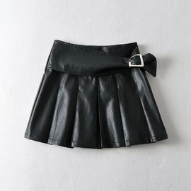 Square Button Decor Leather Pleated Short Skirt  NSAC43304