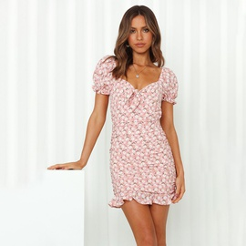 Square Neck Sexy Backless Lace-up Floral Dress NSAG43325