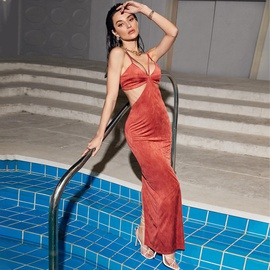 Wrapped Chest Strapped Fashion Sexy Long Dress NSAG43332