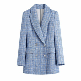 Double Breasted Plaid Texture Blazer  NSAM42968
