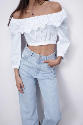 Elastic Hollow Embroidery Poplin Blouse NSAM43297