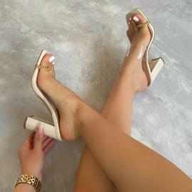 Metal Chain Set Toe Thick Heel Sandals NSCA43564