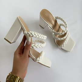 Fashion Toe Solid Color Thick Heel Sandals NSCA43565
