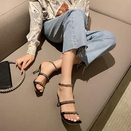 Solid Color Chain Decor Strap Stiletto Shoes NSCA43570
