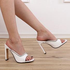 Square Head Thick Heel High Heel Sandals NSCA43577