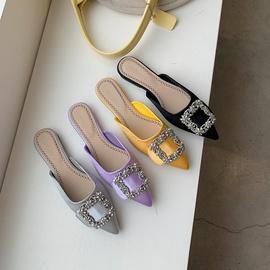 Bling Decor Satin Flat-heel Mullers NSCA43580