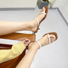 Square Toe Double Strap Flat Sandals NSCA43582