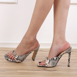 Square Head High Heel Large Size Snake Print Sandals NSCA43583
