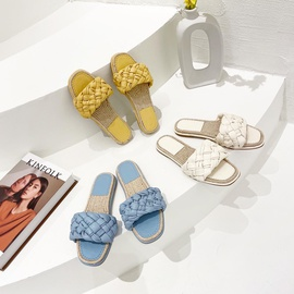 Chain Decor Square Toe Flat-heeled Slippers NSCA43590