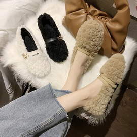 Double Buckle Design Fluffy Shoes NSPE43776