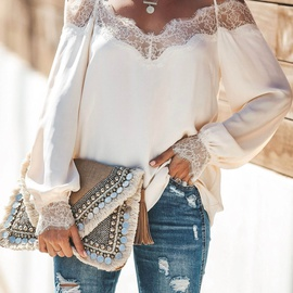 Lace stitching chiffon long-sleeved shirt NSAXE43923