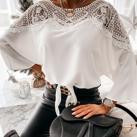 solid color long-sleeved lace shirt NSAXE43939