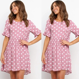 New Short-sleeved Round Neck Printing Dress NSAXE43954