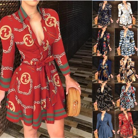 New Long-sleeved V-neck Tie Fashion Sexy Print Dress NSAXE43957