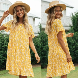 Spring New Style Round Neck Printing Dress NSAXE43961