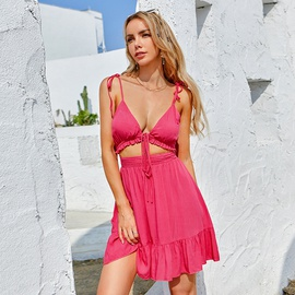 Sexy Hollow Lace Sling Dress NSWX43971