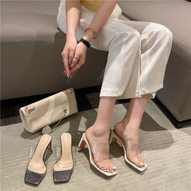 Clear Sculptural Heeled Mules NSHU44058