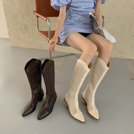 Hollow Breathable Thick Heel Pointed Boots NSHU44067