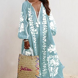 New V-neck long-sleeved printed dress NSAXE43959