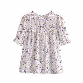 Retro Short-sleeves Floral Print Chiffon Shirt NSAM44204
