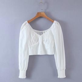Square Collar Pearl Button Puff Sleeve Shirt  NSAM44209