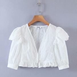 V-neck Ruffled Embroidered Lace Short Shirt  NSAM44212