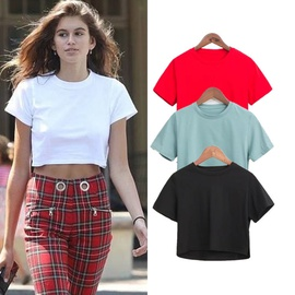 Pure Color Retro Round Neck Short-sleeved T-shirt NSAC44236