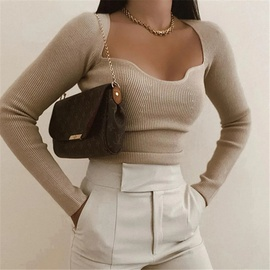 Retro Square Neck Long Sleeve Knitted Top NSAC44246