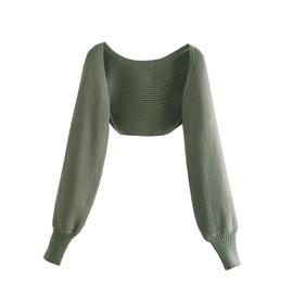 Solid Color Knit Crop Jecket NSHS44281