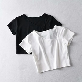 Summer New Sexy Slim Solid Color Short-sleeved T-shirt NSHS44282