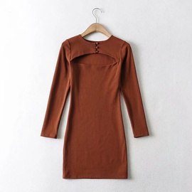 Round Neck Breasted Chest Hollow Long-sleeved Dress NSHS44286