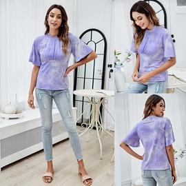 Fashion Slim Hort-sleeved Tie-dye T-shirt NSLM44331