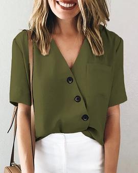 Solid Color Button Shirt  NSXZY44521