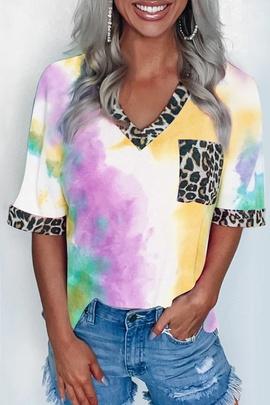 New Tie-dye Printing Rainbow Short-sleeved T-shirt NSXZY44511