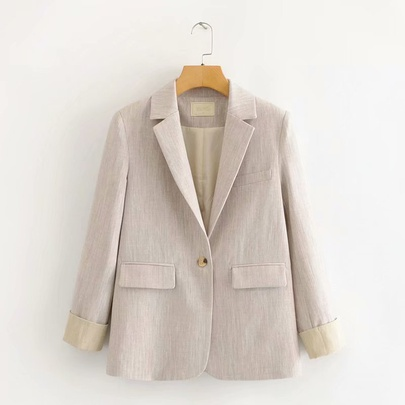 Casual Button Front Suit Jacket NSAM44608
