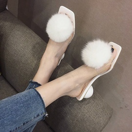 Fluffy Ball Decor Thick Heeled Sandals NSHU44691