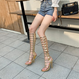 Snake Pattern Golden Strap High-heeled High Tube Sandals  NSSO44710