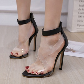 Transparent Cross Heel Sandals  NSSO44714