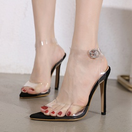 Pointed Toe Stiletto Transparent Slide Sandals NSSO44720