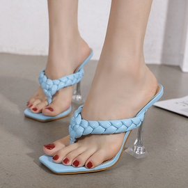 Woven Strap High Heeled Thong Sandals NSSO44723