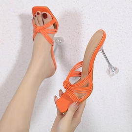 Thin Strap Square Toe Heeled Sandals NSSO44724