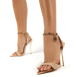Candy Color Pointed Toe Metal Chain Stiletto Sandals  NSSO44729