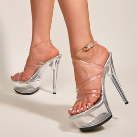 Crystal Heel Transparent Buckle Stiletto Sandals NSSO44730