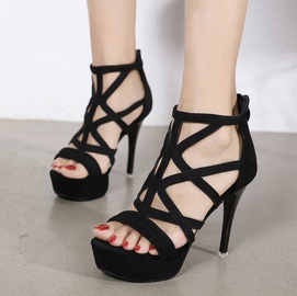 High-heeled Platform Suede Hollow Sandals  NSSO44731