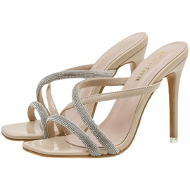 Crystal Decor Cross Strap High Heeled Sandals NSSO44735