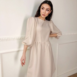 Puff Sleeve Round Neck Dress  NSYSB44898