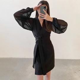Chiffon Slim Spring V-neck Skirt NSYSB44931