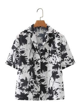 Spring Color Flower Short-sleeved Shirt NSAM44974