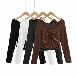 Solid Color Slimming Short Long-sleeved T-shirt NSHS45026