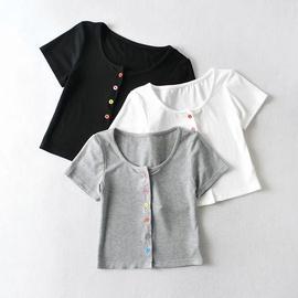 Sexy New Elastic Short-sleeved T-shirt NSHS45039